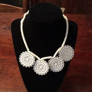 Gorgeous handcrafted bone necklace w lacey drops